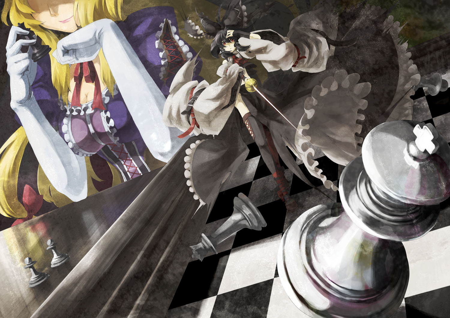 brunettes_blondes_touhou_gloves_chess_long_hair_ribbons_desktop_1500x1059_hd-wallpaper-708918